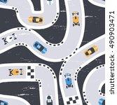 vector seamless racing cars... | Shutterstock .eps vector #490903471