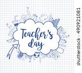 happy teacher's day   unique...   Shutterstock .eps vector #490921081