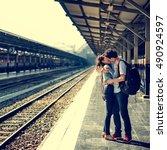 couple travel destination... | Shutterstock . vector #490924597