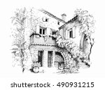 black and white sketch...   Shutterstock .eps vector #490931215
