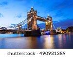 tower bridge at night twilight... | Shutterstock . vector #490931389