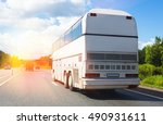 tourist bus goes on highway in... | Shutterstock . vector #490931611