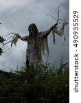 A Halloween Scarecrow Frighten...