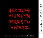 alphabet   number   handwriting ... | Shutterstock .eps vector #490937224
