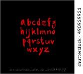 alphabet   number   handwriting ... | Shutterstock .eps vector #490939921