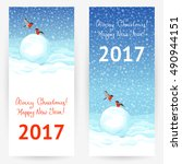 festive greeting cards with... | Shutterstock .eps vector #490944151