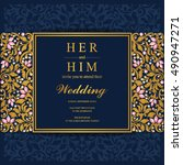 wedding invitation or card with ... | Shutterstock .eps vector #490947271