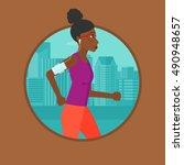 an african american woman... | Shutterstock .eps vector #490948657