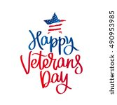 happy veterans day. the trend... | Shutterstock . vector #490953985