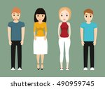 girls and boys teenagers... | Shutterstock .eps vector #490959745