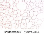 red soap bubbles against glass... | Shutterstock . vector #490962811