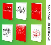set of christmas brochures... | Shutterstock .eps vector #490967701