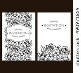 invitation with floral... | Shutterstock .eps vector #490971829