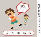 boy gets bitten by swappable... | Shutterstock .eps vector #490972267