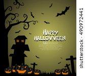 halloween poster  vector... | Shutterstock .eps vector #490972441