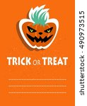 cartoon angry pumpkin. ... | Shutterstock .eps vector #490973515