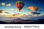 balloons float over the skies... | Shutterstock . vector #490977991