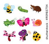 set of cute and funny bugs  | Shutterstock .eps vector #490983754