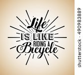 love my bike calligraphy vector ... | Shutterstock .eps vector #490983889