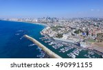 tel aviv skyline   aerial photo | Shutterstock . vector #490991155