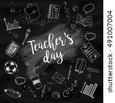 happy teacher's day   unique... | Shutterstock .eps vector #491007004