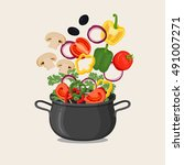 cooking pot with vegetables and ... | Shutterstock .eps vector #491007271