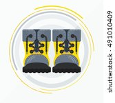 shoe. yellow boots. yellow... | Shutterstock .eps vector #491010409