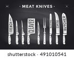 meat cutting knives set. poster ... | Shutterstock . vector #491010541