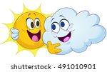 happy sun and cloud hugging... | Shutterstock .eps vector #491010901