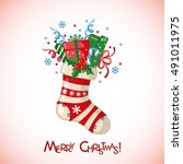 christmas greeting card with...   Shutterstock .eps vector #491011975