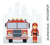 fire man with a fire truck in... | Shutterstock .eps vector #491018929