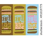 extra huge burger design | Shutterstock .eps vector #491019775