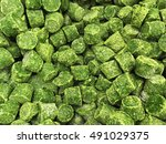 Cubes Of Frozen Spinach. Iced...
