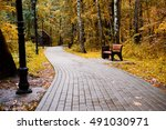 wooden brawn bench in park near ... | Shutterstock . vector #491030971