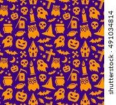 halloween seamless pattern in... | Shutterstock .eps vector #491034814