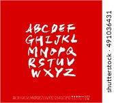 alphabet   number   handwriting ... | Shutterstock .eps vector #491036431