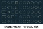 fractal and circle borders set... | Shutterstock .eps vector #491037505