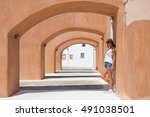 young woman traveling at summer ... | Shutterstock . vector #491038501