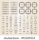 vintage set exclusive borders... | Shutterstock . vector #491039314