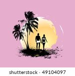 Silhouette Of Young Couple...