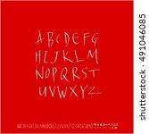 alphabet   number   handwriting ...   Shutterstock .eps vector #491046085