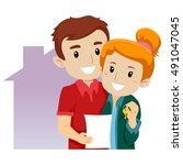 vector illustration of a couple ... | Shutterstock .eps vector #491047045
