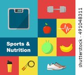 sports and nutrition vector... | Shutterstock .eps vector #491048311
