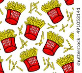 french fries seamless pattern... | Shutterstock .eps vector #491053141