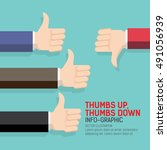 thumbs up and thumbs down flat... | Shutterstock .eps vector #491056939