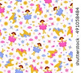 vector cute seamless pattern... | Shutterstock .eps vector #491058484