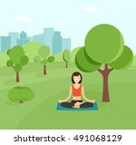 young girl doing yoga in the... | Shutterstock .eps vector #491068129
