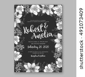 wedding invitation card with... | Shutterstock .eps vector #491073409