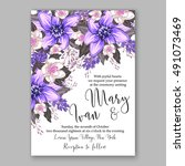 wedding invitation card with... | Shutterstock .eps vector #491073469