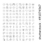 set vector line icons in flat... | Shutterstock .eps vector #491074567